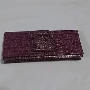 Vintage plum animal print clutch